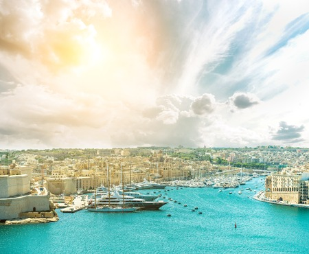 panoramic view on Valletta from the sea in Malta Stok Fotoğraf
