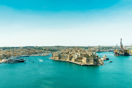 horison: panoramic view on Valletta from the sea in Malta Stock Photo