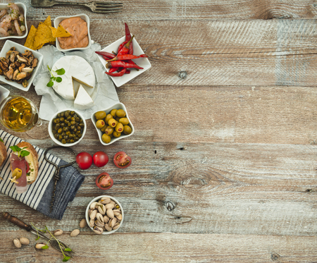 pickled: National Spanish tapas on a wooden background Stock Photo