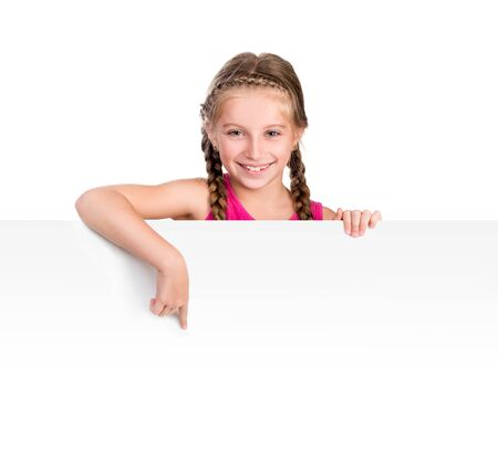placard: little smiling girl with white blank close up isolated on white background