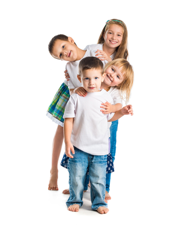 children background: smiling children with arms up isolated on white background