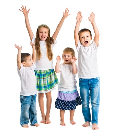 arms up: smiling children with arms up isolated on white background