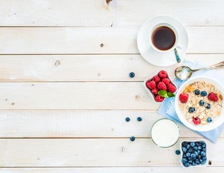 テキスト領域トップ ビューで健康的な朝食 写真素材