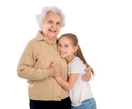mujer alegre: niña con el retrato bisabuela