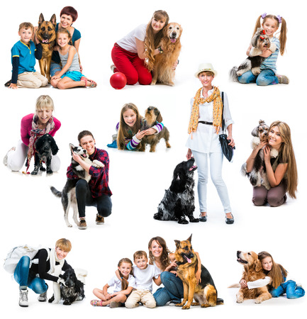 collection photos of children and adults with a cute dogs on a white background photo