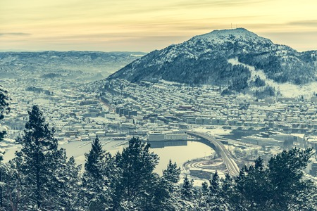 scandinavian landscape: panoramic view from the observation deck at Bergen, Norway Stock Photo