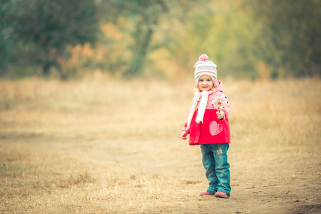 autumn landscape: little smiling girl on autumn landscape with pinwheel toy Stock Photo