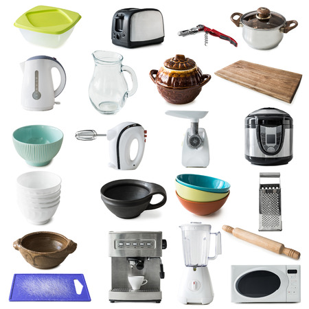 kitchen appliances: collage of different kinds of kitchen appliances and ware isolated on white background