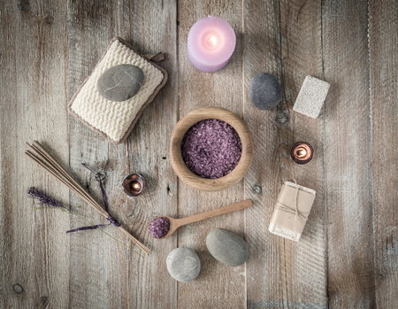bodycare: Composition of spa treatment on the wooden table. Top view Stock Photo