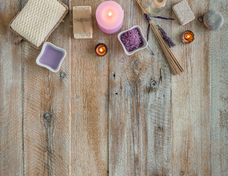cosmetics background: Composition of spa treatment on the wooden table with space for text. Top view Stock Photo