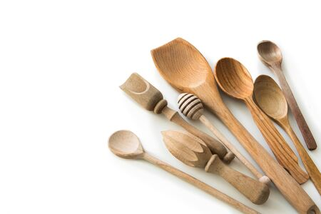 textspace: set of wooden kitchen spoons and other items on white background with textspace Stock Photo