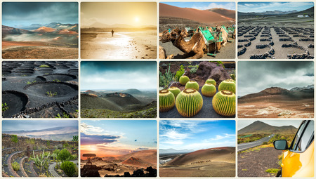 stone volcanic stones: Photo collage of landscapes from island Lanzarote, Spain