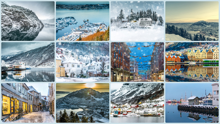 travel collage: Collage of photos from Bergen, Norway