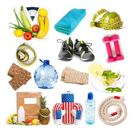 boxing tape: collage of components of a healthy lifestyle