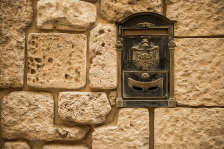 old letters: Old letterbox in the city of Valletta on the island of Malta, Southern Europe Stock Photo