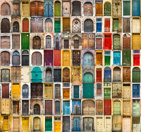 door knobs: set photos of doors on the old districts of Europe