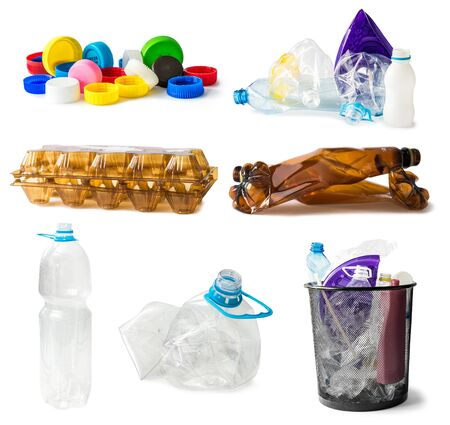 plastic waste: collage of plastic waste isolated on white background