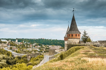 loopholes: medieval castle fortress in Kamenetz-Podolsk. Ukraine Stock Photo