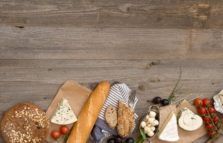 French food ingredients on a wooden table with space for text Stock Photo - 49147503