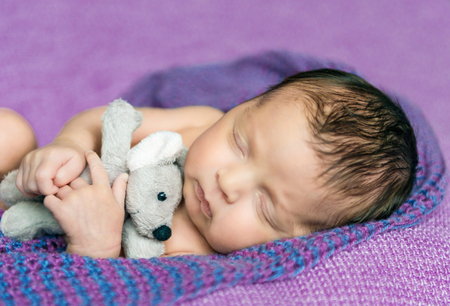 nude boy: lovely newborn baby asleep on a purple blanket Lizenzfreie Bilder
