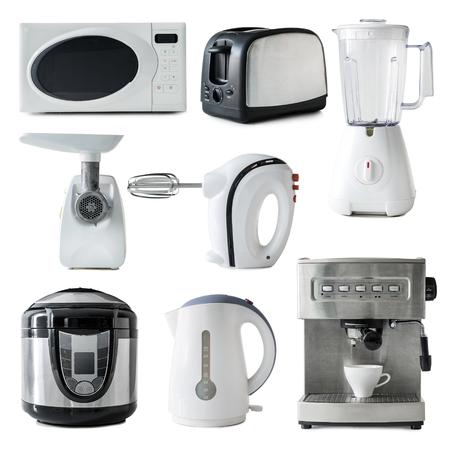 Collage de diferentes tipos de aparatos de cocina aisladas sobre fondo blanco Foto de archivo - 50031799