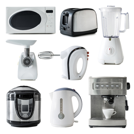 kitchen appliances: collage of different types of kitchen appliances isolated on white background