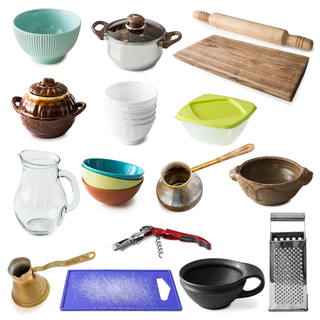 kitchenware: collage of many different kitchenware