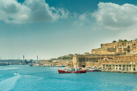 horison: beautiful panoramic view on Valletta from the sea in Malta