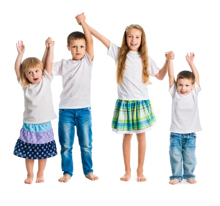 background person: children jump holding hands isolated on white background