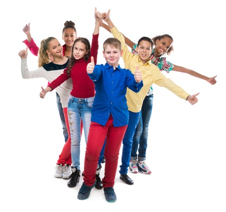 standing together: classmates standing one by one with their hands and thumbs up isolated on white background