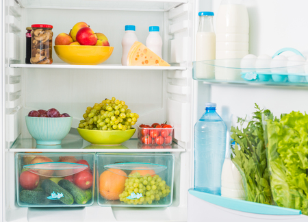 hermetic: fridge inseide filled with different fresh food
