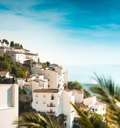 spanish village: traditional little white houses Spanish village