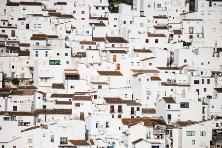 spanish houses: background of traditional little white houses Spanish village Stock Photo