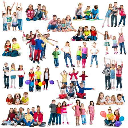 collage of different-aged funny and active children in groups
