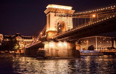 night views: beautiful night view on the Liberty Bridge (Freedom bridge) over Danube in Budapest, Hungary