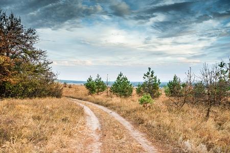 kharkov: scenic view of Kharkov desert in autumn, Ukraine Stock Photo