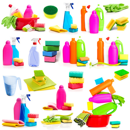 rags: Set photos detergent and cleaning supplies isolated on a white background