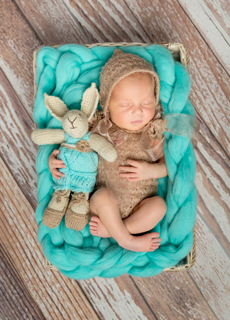 new born baby boy: adorable newborn baby in costume with bunny-toy in cot top view