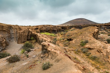 terrain: landscape with stony and rocky terrain of Lanzarote, Spain