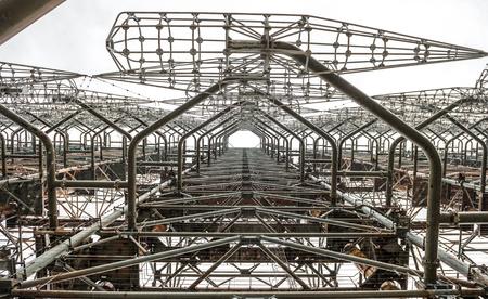 rusty radar facility duga 3 in Chernobyl Exclusion Zone