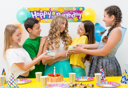 new age: group of teenagers at a birthday party Stock Photo