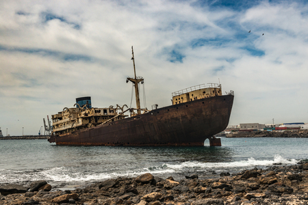 Rusty Spanish ship in the waters near Lanzarote