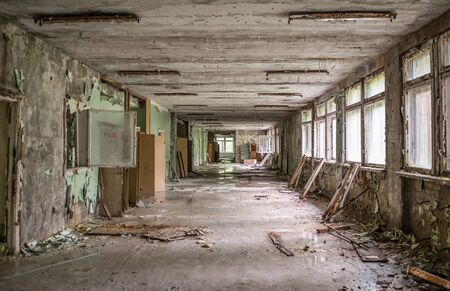corridors: gloomy school corridor with debris in Pripyat