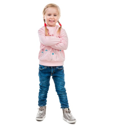 hands pocket: cute little girl with her hands in pockets