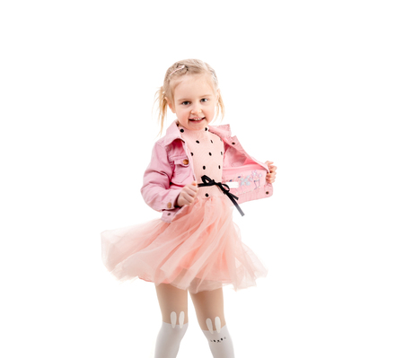the girl in stockings: Adorable child dancing and spinning