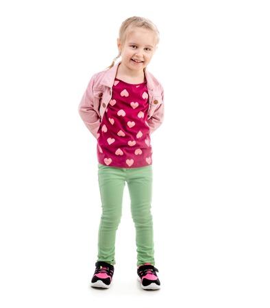 Sweet girl holding her pink jacket, isolated Stock Photo