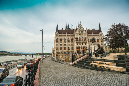 cobbled street leading to legislative house in hungary
