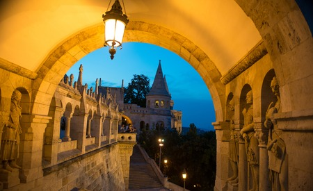 Ancient romanesque Fishermans Bastions arch in Hungary Redakční