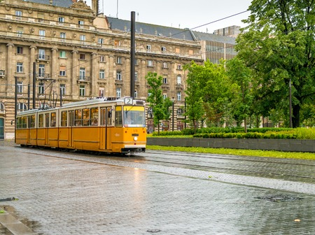Budapest tram in front of Hungarian National Parliament Editorial