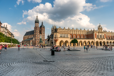 eastern european cobbled square in Krakow, Poland Editorial